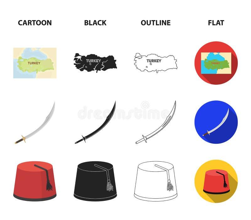 Turc Fez, yatogan, turc, narguilé Icônes réglées de collection de la Turquie dans la bande dessinée, noir, contour, symbole plat  illustration stock