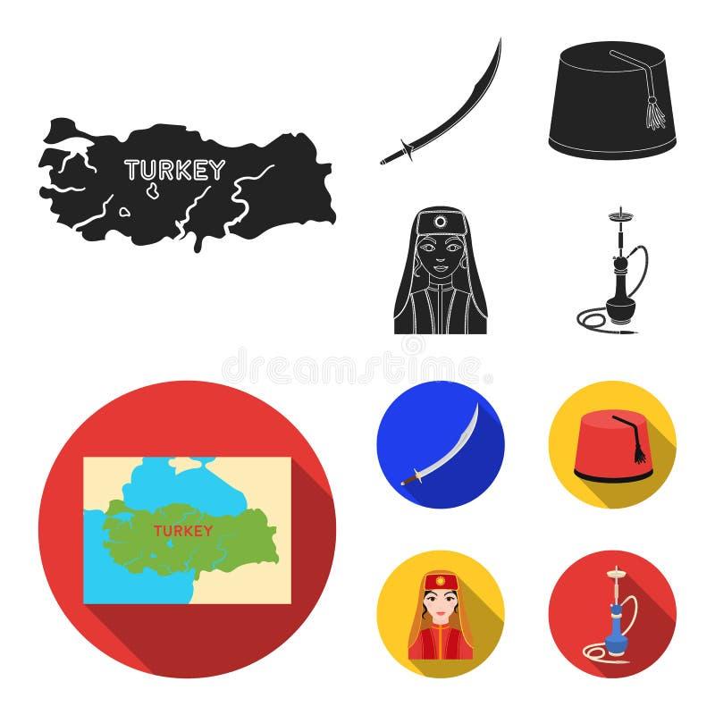Turc Fez, yatogan, turc, narguilé Icônes réglées de collection de la Turquie dans l'illustration noire et plate d'actions de symb illustration stock