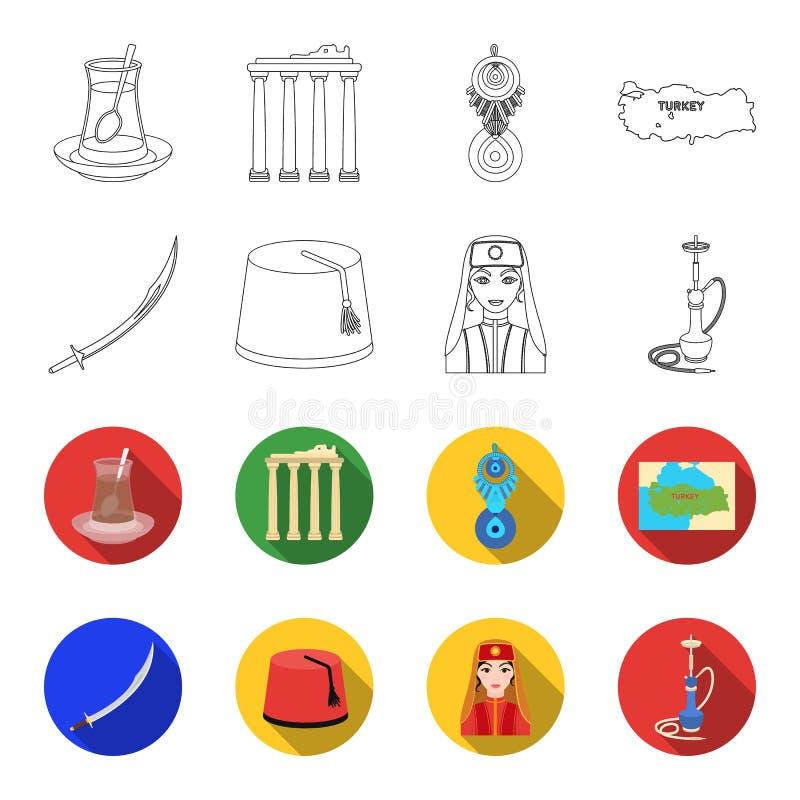 Turc Fez, yatogan, turc, narguilé Icônes réglées de collection de la Turquie dans le contour, illustration plate d'actions de sym illustration de vecteur