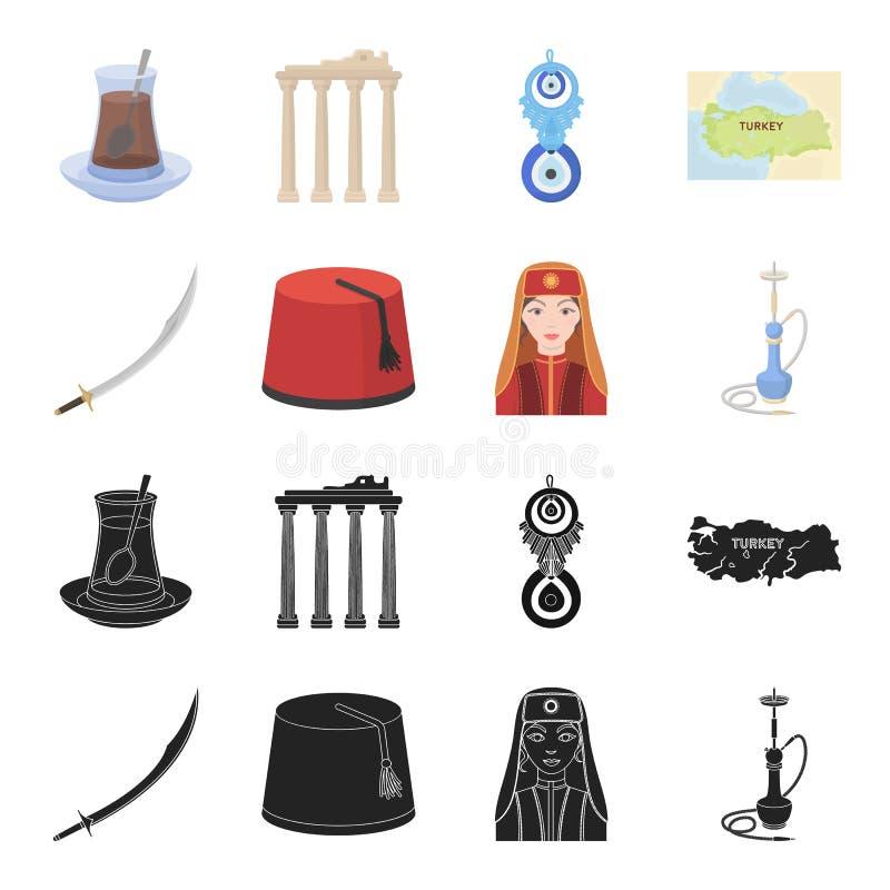 Turc Fez, yatogan, turc, narguilé Icônes réglées de collection de la Turquie dans le noir, actions de symbole de vecteur de style illustration de vecteur