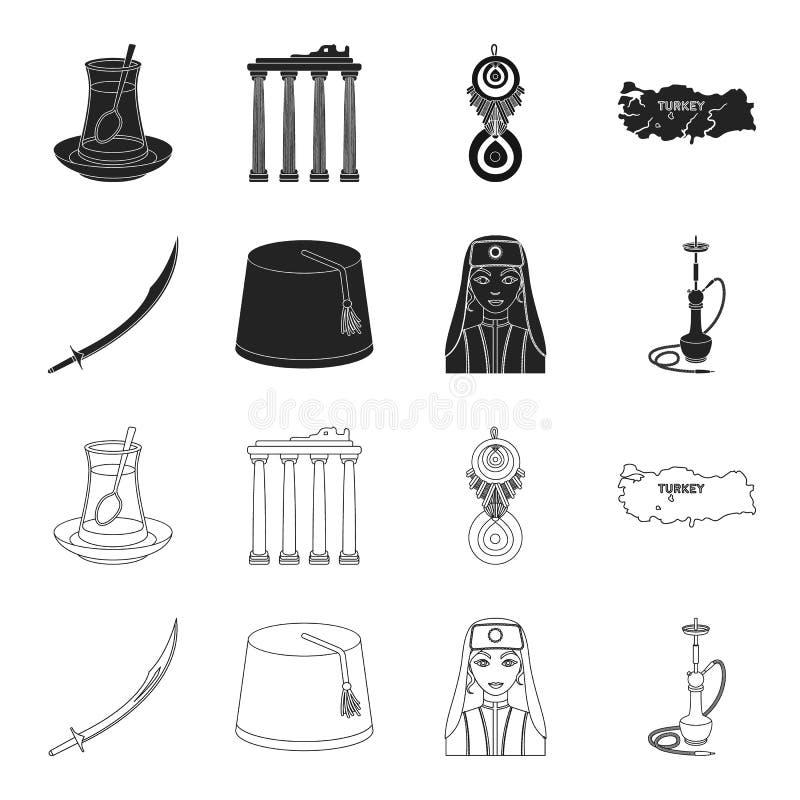 Turc Fez, yatogan, turc, narguilé Icônes réglées de collection de la Turquie dans le noir, actions de symbole de vecteur de style illustration stock