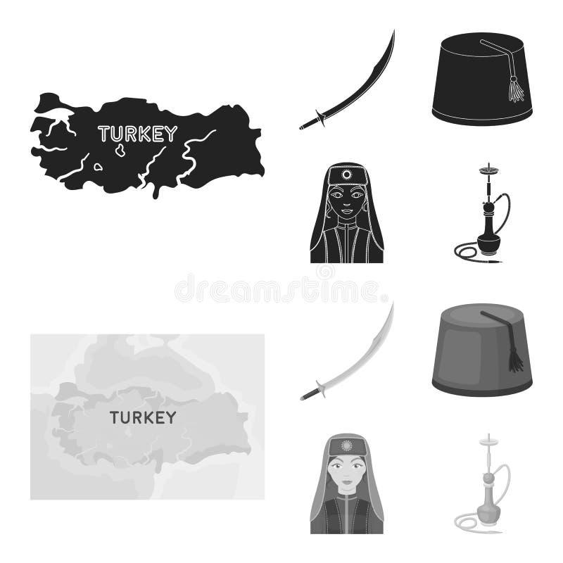 Turc Fez, yatogan, turc, narguilé Icônes réglées de collection de la Turquie dans le noir, actions de symbole de vecteur de style illustration libre de droits