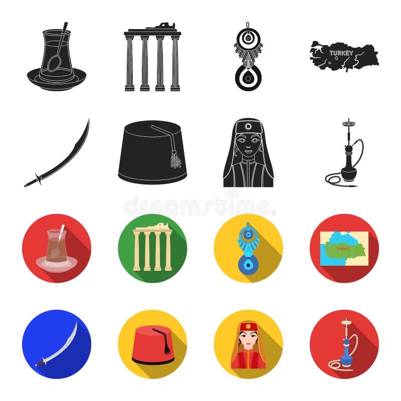 Turc Fez, yatogan, turc, narguilé Icônes réglées de collection de la Turquie dans le noir, illustration d'actions de symbole de v illustration de vecteur