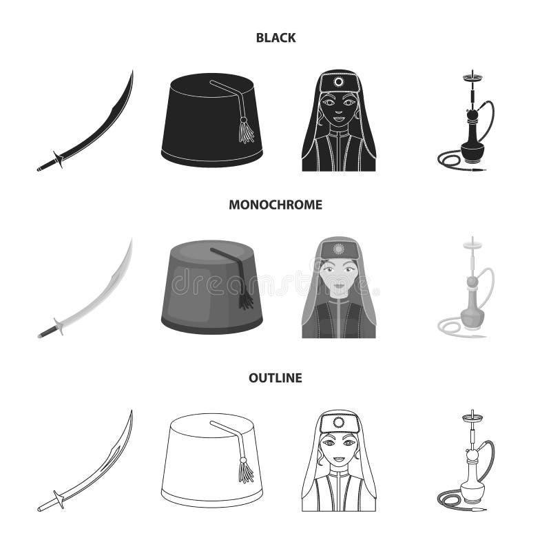 Turc Fez, yatogan, turc, narguilé Icônes réglées de collection de la Turquie dans noir, monochrome, actions de symbole de vecteur illustration de vecteur