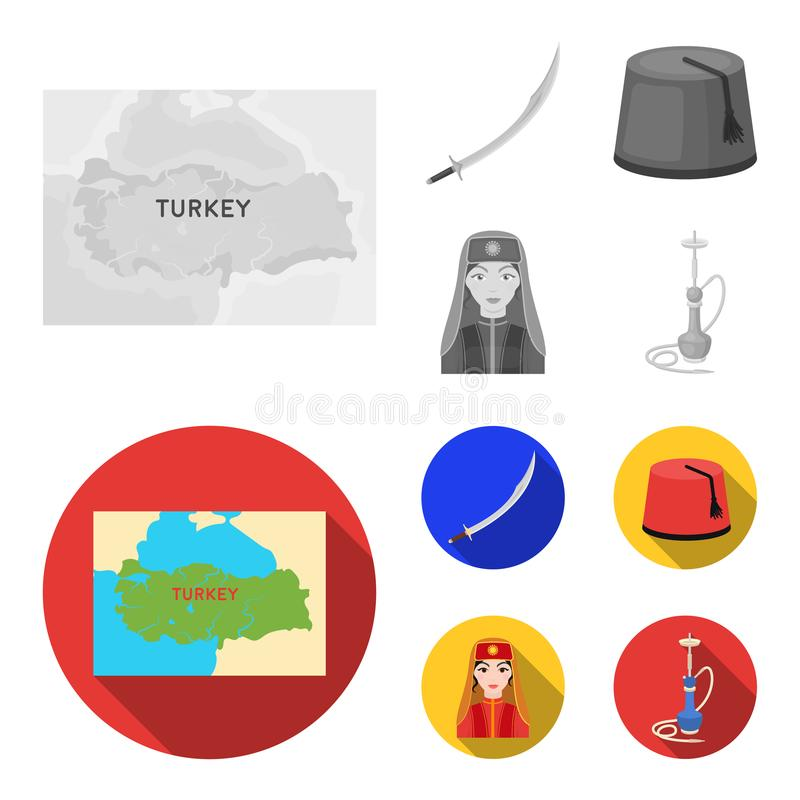 Turc Fez, yatogan, turc, narguilé Icônes réglées de collection de la Turquie en stock monochrome et plat de symbole de vecteur de illustration libre de droits