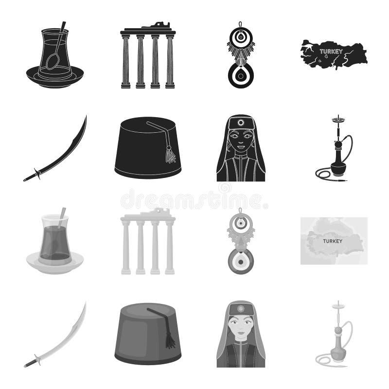 Turc Fez, yatogan, turc, narguilé Icônes réglées de collection de la Turquie en stock noir et monochrome de symbole de vecteur de illustration de vecteur