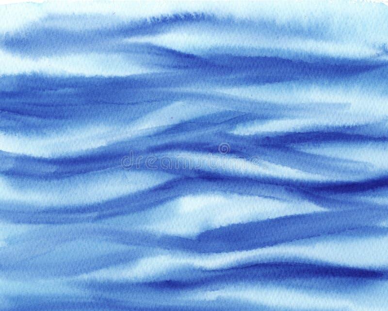 turchese bagnato dell'acquerello dell'estratto e fondo blu Lavaggio dell'acquerello Pittura astratta struttura dell'onda del mare illustrazione di stock