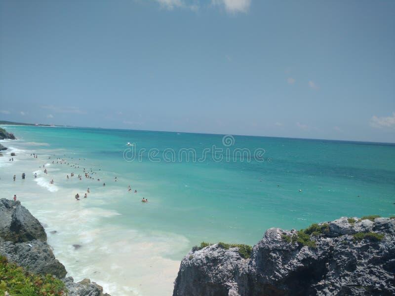 Turchese dell'oceano del mare del Messico della spiaggia fotografia stock