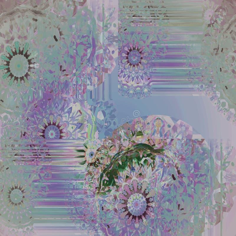Turchese porpora viola rosa blu del modello rotondo complesso astratto di fantasia illustrazione vettoriale