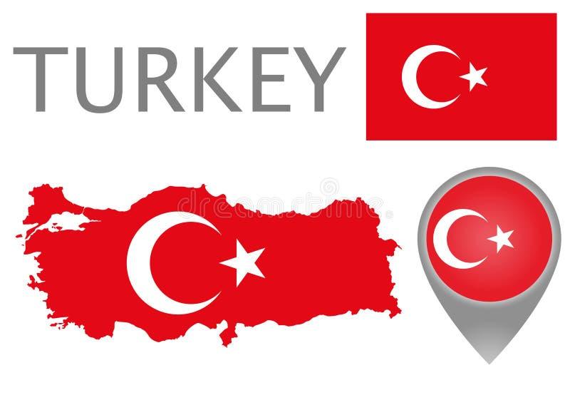 Turcja flaga, mapa i mapa pointer, royalty ilustracja