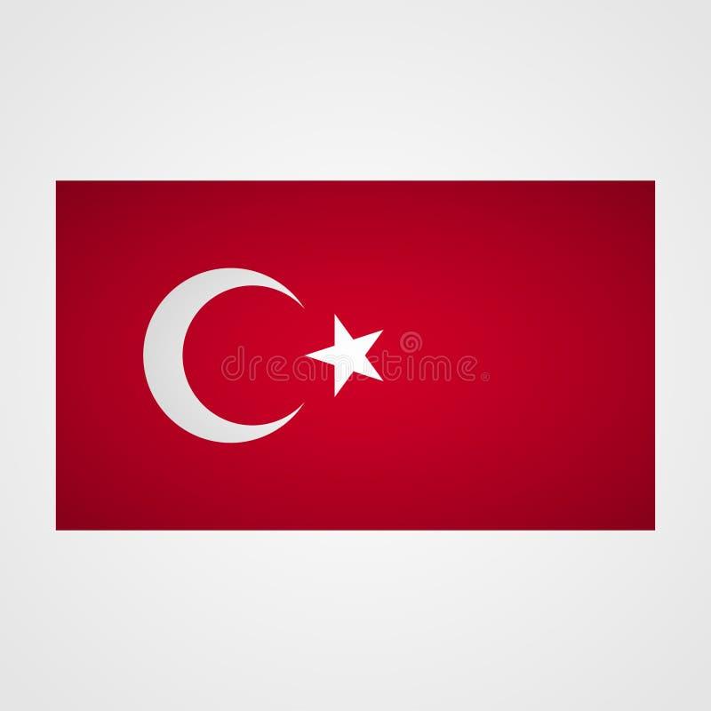 Turcja flaga na szarym tle również zwrócić corel ilustracji wektora ilustracji