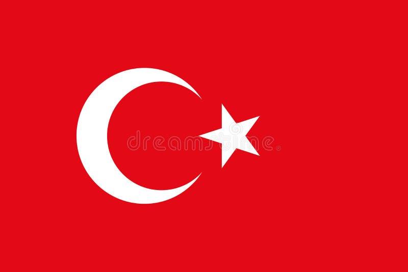 Turcja flaga w urzędników kolorach z aspekta współczynnikiem 2:3 i ilustracja wektor