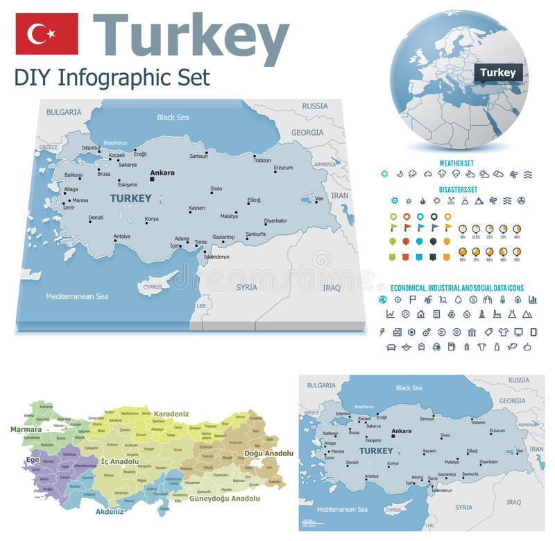 Turcja mapy z markierami ilustracji