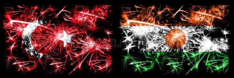 Turcja, Turcja vs Niger, nigeryjski Nowy Rok obchodów musujących fajerwerków Koncepcja flagi Połączenie dwóch streszczeń ilustracja wektor