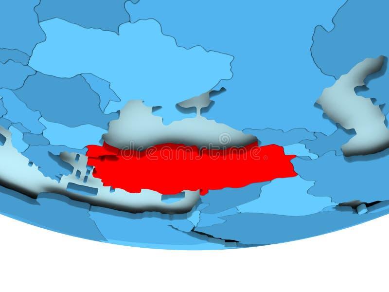 Turcja w czerwieni na błękitnej mapie royalty ilustracja