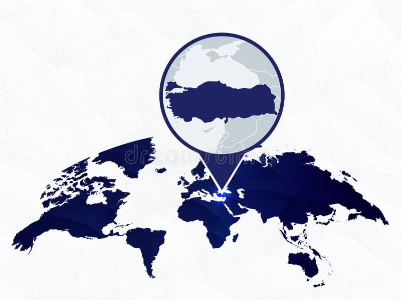 Turcja wyszczególniał mapę podkreślającą na błękitnej zaokrąglonej Światowej mapie royalty ilustracja