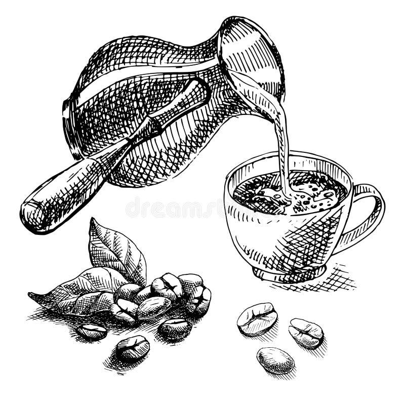 Turco de la taza y del café y granos de café ilustración del vector