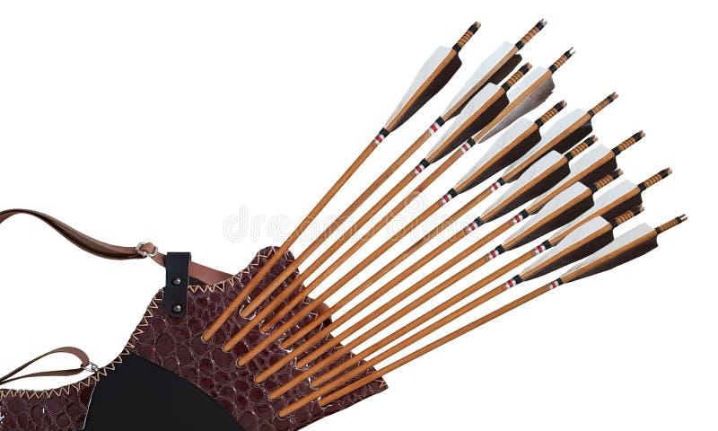 Turco di cuoio di legno nero dell'arco del cavallo della freccia del fremito di tiro con l'arco tradizionale nel fondo isolato bi immagini stock libere da diritti