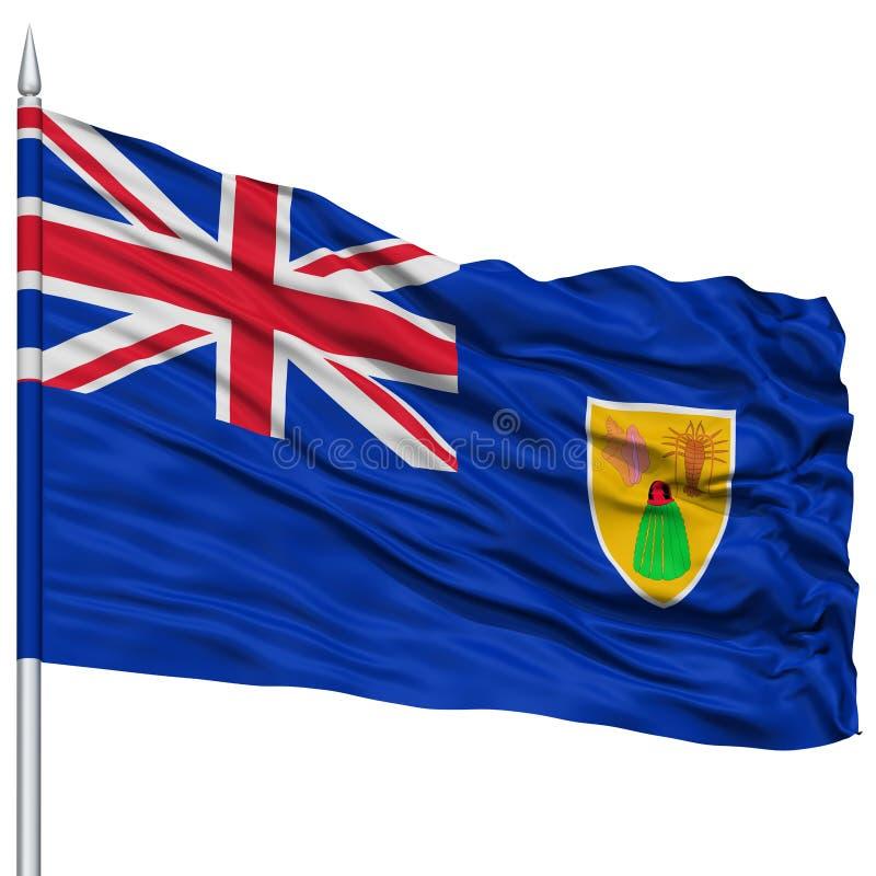 Turczynki i Caicos wysp flaga na Flagpole obrazy royalty free