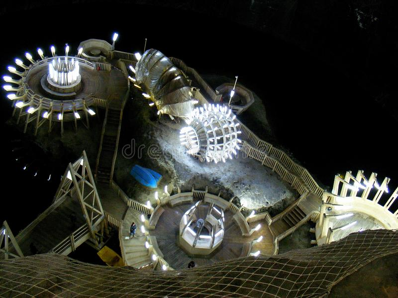 Turda Salt Mine is one of the most important salt mines in Transylvania, one of the largest in Europe stock images