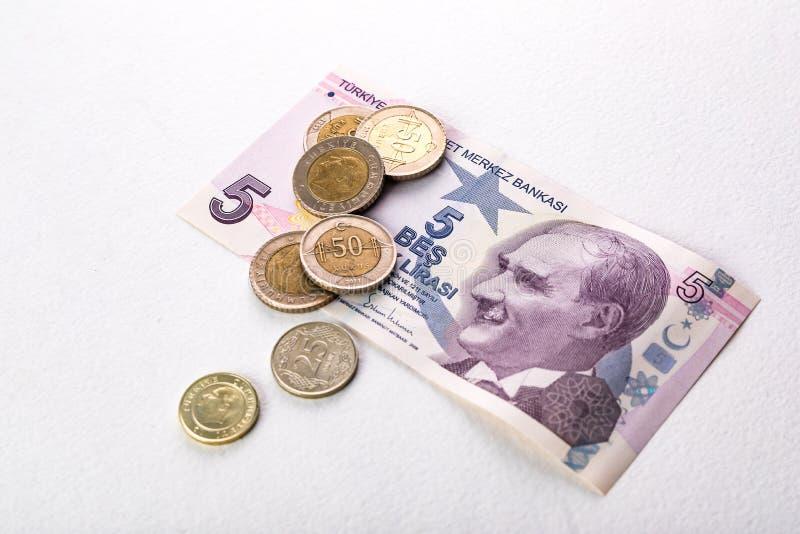 Tureccy banknoty i monety Tureckiego lira pr?ba lub TL zdjęcie royalty free