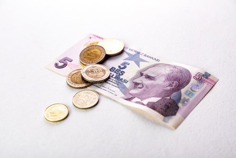 Tureccy banknoty i monety Tureckiego lira pr?ba lub TL obraz stock