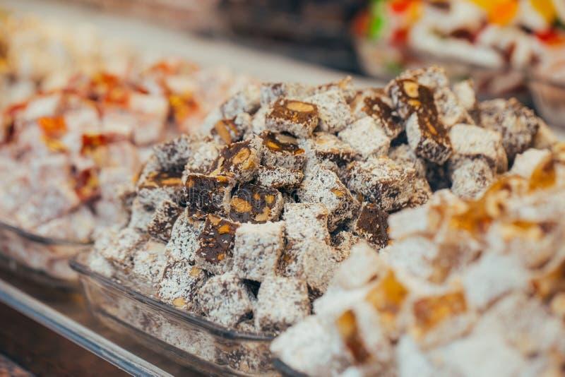 Tureccy cukierki w Egipskim bazarze istanbul indyk obraz royalty free
