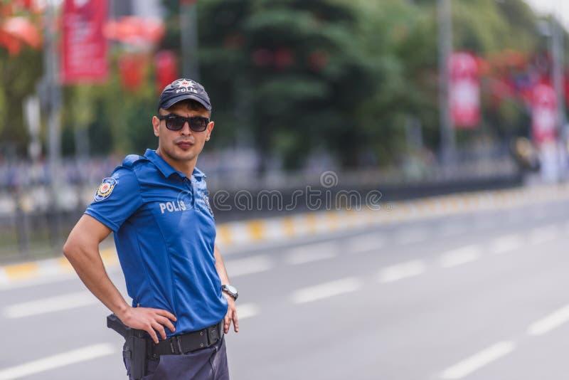 Tureccy funkcjonariuszów policji strażnicy dla Militarnej parady fotografia stock