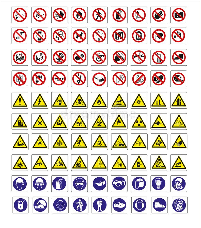 Tureccy signage modele, zagro?enie znak, zabraniaj?cy znak, okupacyjny bezpiecze?stwo i zdrowie znaki, ostrzegawczy signboard, po ilustracji