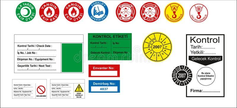Tureccy signage modele, zagro?enie znak, zabraniaj?cy znak, okupacyjny bezpiecze?stwo i zdrowie znaki, ostrzegawczy signboard, po ilustracja wektor