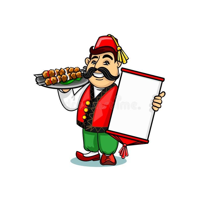 Turecczyzna kucharz z menu i szaszłykiem ilustracji