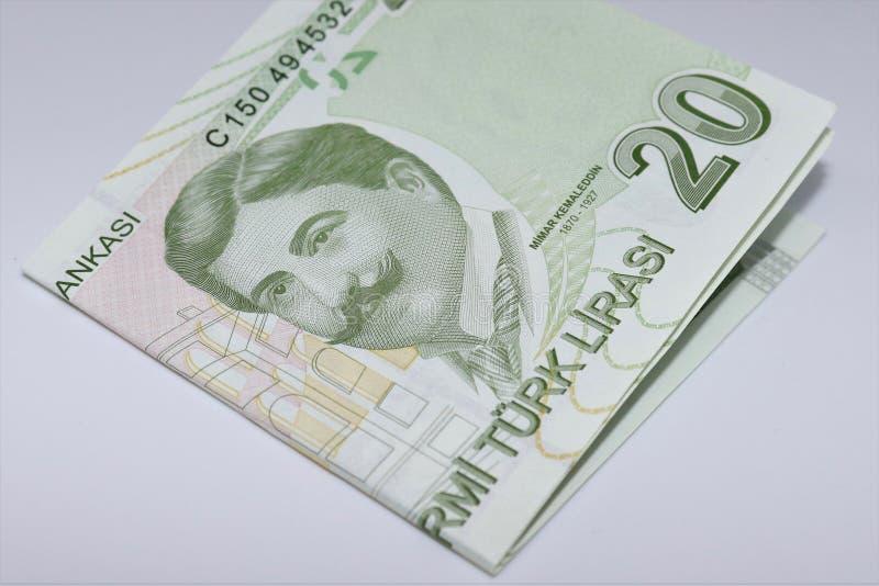 Turecczyzna 20 lirów banknot na bielu fotografia royalty free