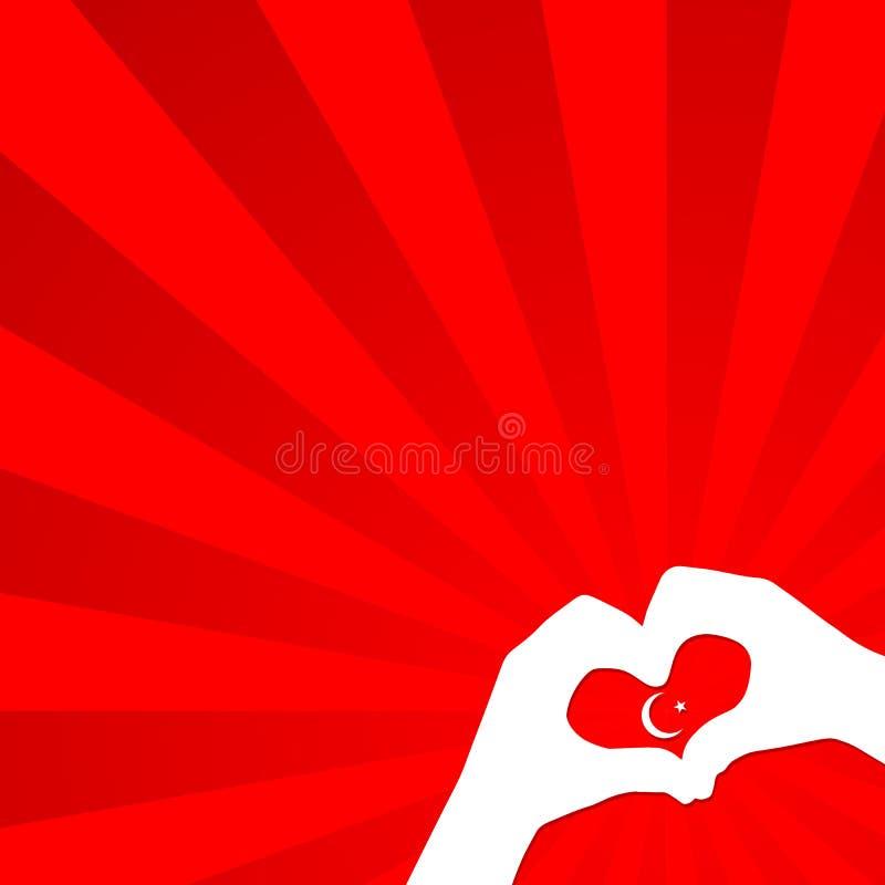 Turecczyzna tematu dzieci chorągwiane ręki z księżyc i gwiazdą na czerwonym tle krajowy Turcja chorągwiany Patriotyczny świąteczn royalty ilustracja