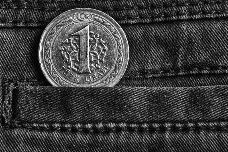 Turecczyzny moneta z wyznaniem jeden lir w kieszeni ciemni drelichowi cajgi, monochromu strzał obrazy royalty free