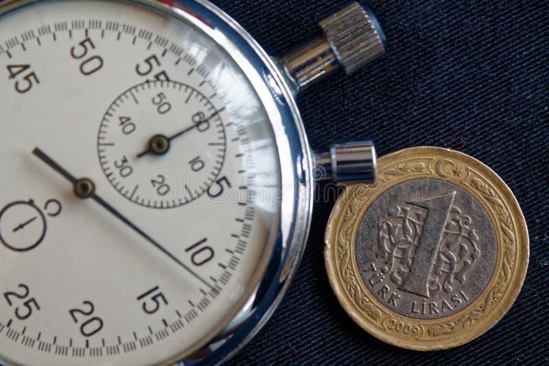 Turecczyzny moneta z wyznaniem 1 stopwatch na czarnym cajgu tle i lir - biznesowy tło fotografia royalty free