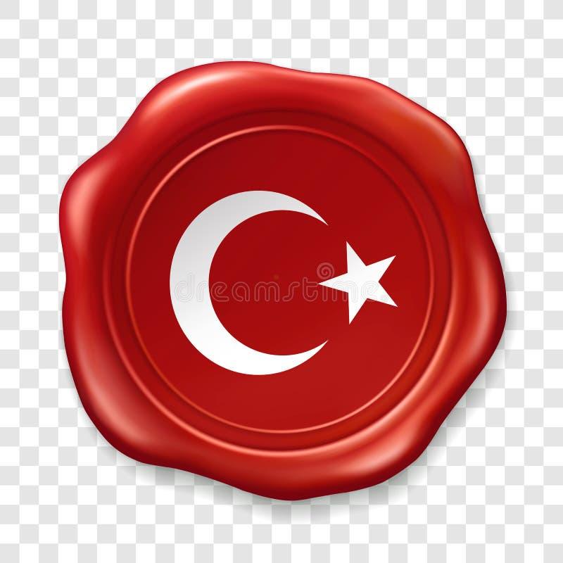 Turecka flaga pa?stowowa z biel ksi??yc i gwiazd? Glansowana wosk foka Pieczęciowego wosku stara realistyczna stemplowa etykietka royalty ilustracja