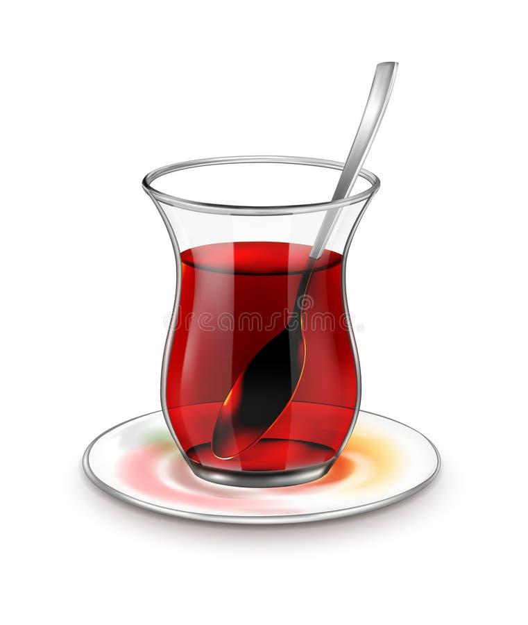 Turecka herbaciana filiżanka z czarną herbatą i srebną łyżką royalty ilustracja