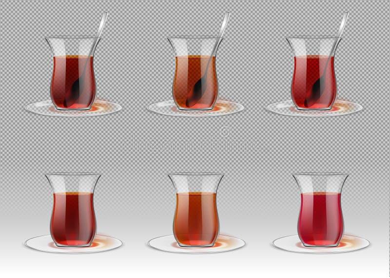 Turecka herbaciana filiżanka z czarną herbatą i srebną łyżką ilustracji