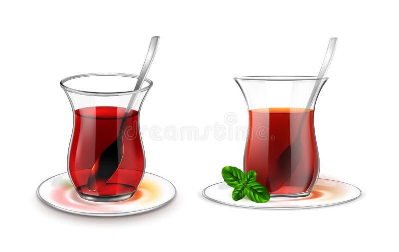 Turecka herbaciana filiżanka z czarną herbatą, srebną łyżką i mennicą, ilustracji
