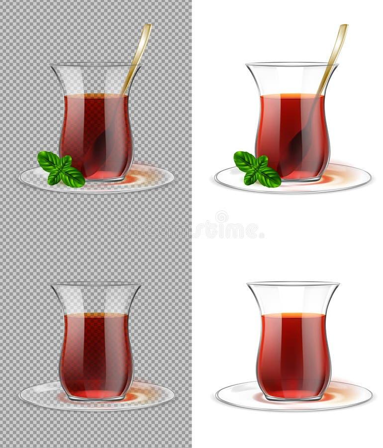 Turecka herbaciana filiżanka z czarną herbatą, złocistą łyżką i mennicą, ilustracja wektor