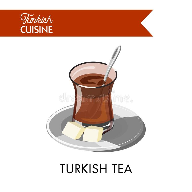Turecka herbata w niezwykłym przejrzystym szkle z cukrowymi sześcianami ilustracji