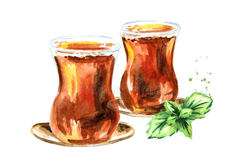 Turecka herbata w tradycyjnym szkle z nowymi liśćmi Akwareli ręka rysująca ilustracja, odizolowywająca na białym tle royalty ilustracja