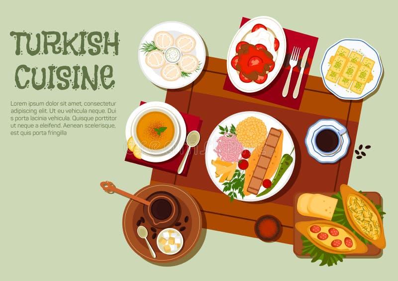 Turecka kebabu, kawy i ciast mieszkania ikona, royalty ilustracja