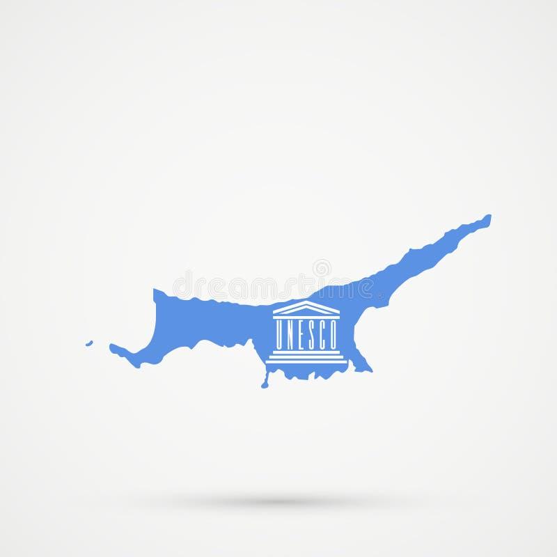 Turecka republika Północna Cypr TRNC mapa w Narody Zjednoczone Edukacyjnej, Naukowej i Kulturalnej organizacji UNESCO fladze, ilustracja wektor