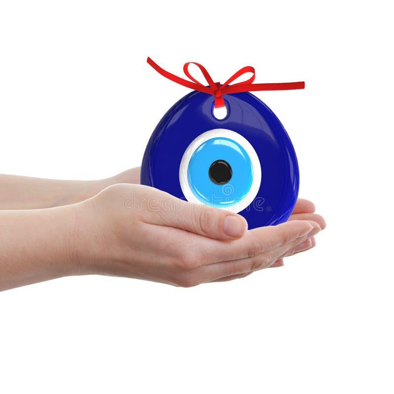 Turecki amulet oko zła Nad rękami z białymi tło, 3D zdjęcia royalty free
