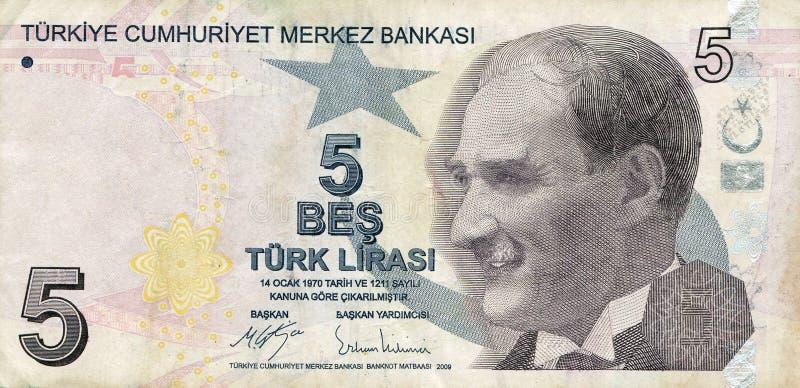 Turecki banknot, wartość nominalna 5 lirów obraz stock