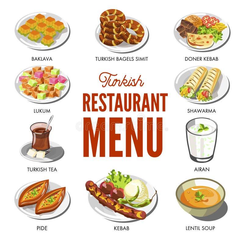 Turecki kuchni jedzenie i tradycyjni naczynia ilustracja wektor