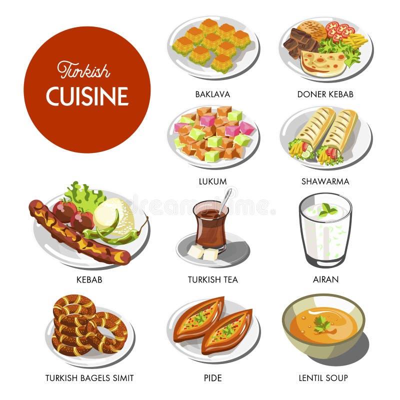Turecki kuchni jedzenie i tradycyjni naczynia ilustracji