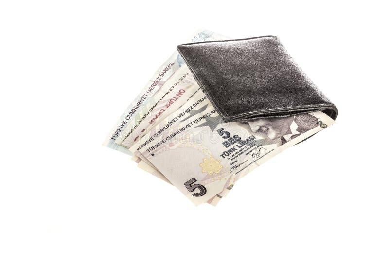Turecki lir w portflu na bielu fotografia royalty free