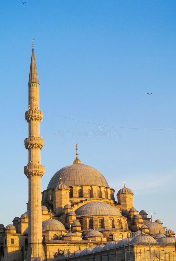 Turecki meczet z wysokim minaretem w Istanbuł fotografia royalty free